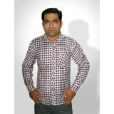 Haazir Regular Fit Red And Blue Check Box Cotton Shirt - Full Sleeves - Blur-sm-2