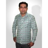 Haazir Regular Fit Green And Blue Check Box Cotton Shirt - Full Sleeves - Blug-sm-1