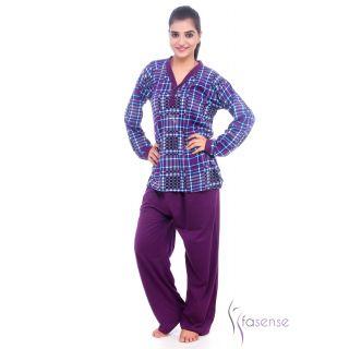 Fasense Women Cotton Nightwear Pyjama Set Night Suit (Violet) DP070 A