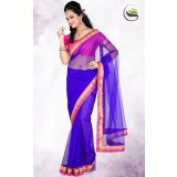 New party wear royal blue net saree with blouse