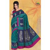 Green art bhagalpuri silk prined saree with blouse.