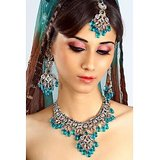 Bridal Heavy Work Blue Jewellery Set With Mangtika 41
