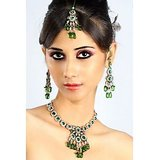 Bridal Light Work Green Jewellery Set With Mangtika 44