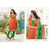 Orange & Green Suit With Green Dupatta