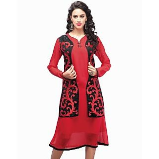 SuratTex Red Embroidered Georgette Stitched Kurti