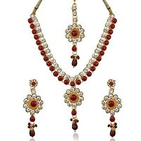 Maroon and Golden Stones Studded Necklace Set with Earrings and Maang Tika