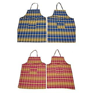 Valtellina 100%Cotton with  Check Design set of 4 aprons (APN-007-008)