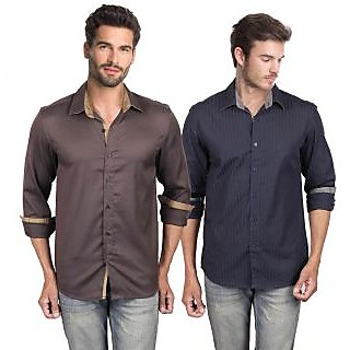 LMFAO Pack of 2 Casual Shirts #109Navy109Brown