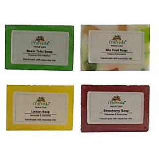 iYurveda 4 Combo Soaps Neem Tulsi , MixFruit Soap, Lemon Soap, Strawberry Soap