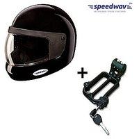Speedwav Full Face Bike Riding Helmet-BLACK+Helmet-Lock