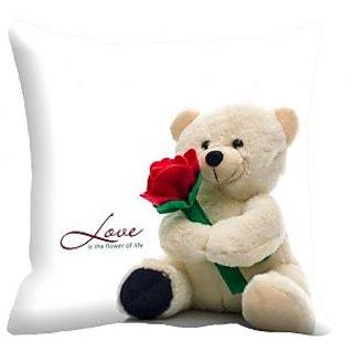 meSleep Teddy Bear Digitally Printed 16x16 inch Cushion Cover