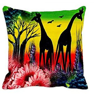 meSleep African Jungle  Art  Digitally Printed Cushion Cover (16x16)