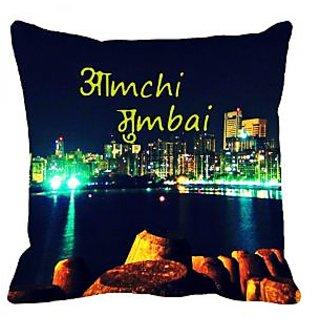 meSleep Amchi Mumbai Digitally Printed Cushion Cover (16x16)