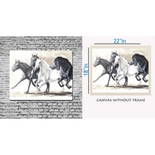 Canvas Painting Without Frame - Black And White Horse