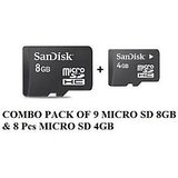 COMBO PACK OF SANDISK 8GB MICRO SD 9 PCS & Free 4GB MICRO SD 8PCS