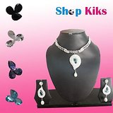 Latest Zircon Studded Necklace Set With Changeable Color For Women - Green