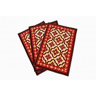 Multicolor Nylon Designer Door Mat - Set Of 3   r1062