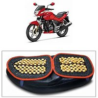 Capeshoppers Wooden Bead Seat Cover For Hero MotoCorp CBZ EX-TREME Double Seater
