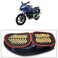 Capeshoppers Wooden Bead Seat Cover For Bajaj PULSAR 200CC Double Seater