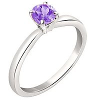 Silver Dew 925 Sterling Silver Solitaire Round Amethyst Ring