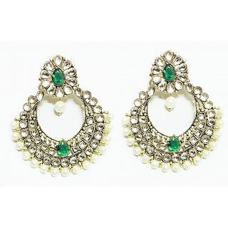 Arum traditional Green kundan fashion earrings