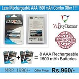 Lexel AAA 1500 MAh Rechargeable Battery Double Combo