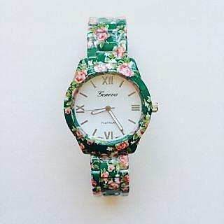 Geneva Flower Print Watch- Green