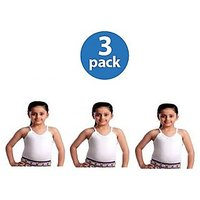 GIRLS CAMI WHITE SLIPS (PACK OF 3)