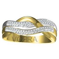 Vorra Fashion Sterling Silver CZ 14K Gold  Platinum Plated Fancy Ring for Women