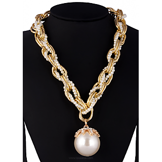 Exotic Fusion of Pearl and Golden Plated Chain With Moon Ball + Black Rugged Leg