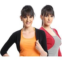 ESPRESSO WOMEN PACK OF 2 SHRUGS - BLACK/RED