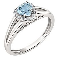Silver Dew 925 Sterling Silver Halo Heart Aquamarine CZ Diamond Ring