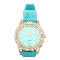 Fidato Round Dial Green Silicone Strap Womens Quartz Watch