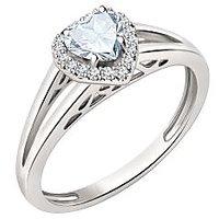 Silver Dew 925 Sterling Silver Halo Heart White CZ Diamond Ring