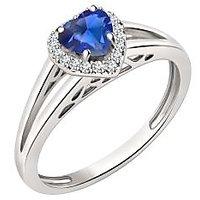 Silver Dew 925 Sterling Silver Halo Heart Blue Sapphire CZ Diamond Ring