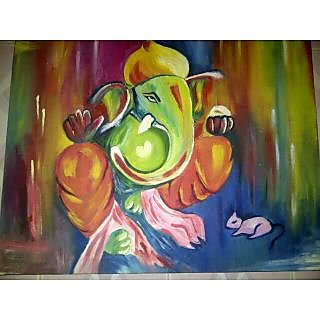 Lord Ganesha Oil Painting on Canvas In India - Shopclues ...