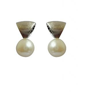 Silver Triangle Earrings With Pearls