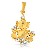 Mahi Gold Plated Siddhipataye Ganpati Pendant With CZ Stones