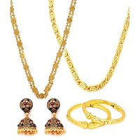 Goldnera Golden Gold Plated Combo Of ChainEarings And Bangles For Women