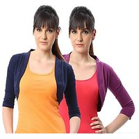 ESPRESSO WOMEN PACK OF 2 SHRUGS - NAVY/PURPLE