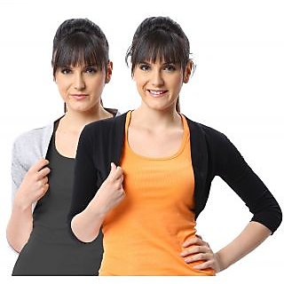 ESPRESSO WOMEN PACK OF 2 SHRUGS - GREY MELANGE/BLACK