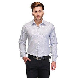 Formals by Koolpals-Cotton Blend Shirt Dark Blue Vertical Stripes on White