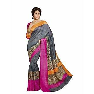 Bhavi Printed Sanganeri Silk Sari with Foil Print (BHVP12506)