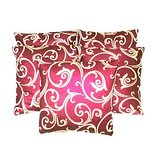 Silky & Softy Liana Cushion Cover Red/beige (Set Of 5 Pcs)