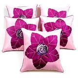 Laser Leaves Patch Cushion Cover Pink/purple(5 Pcs Set)