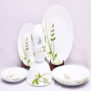 Larah 13 Pcs Dinner Set Fluted Green Hurbs