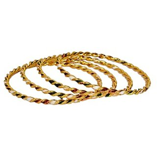 Multicolor Non Plated Set Of 24 Bangles For Women