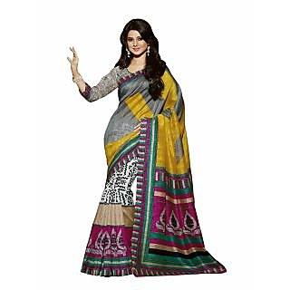 Bhavi Printed Ghicha Silk Sari (BHVP12537)