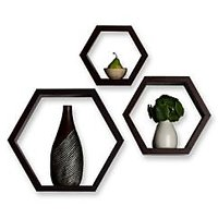DecorNation Charming Black Hexagon Shelves, Set Of 3 Wall Decor Shelf