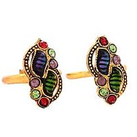 Floral shaped Multicoloured Antique Style Pair of Toerings by GoldNera